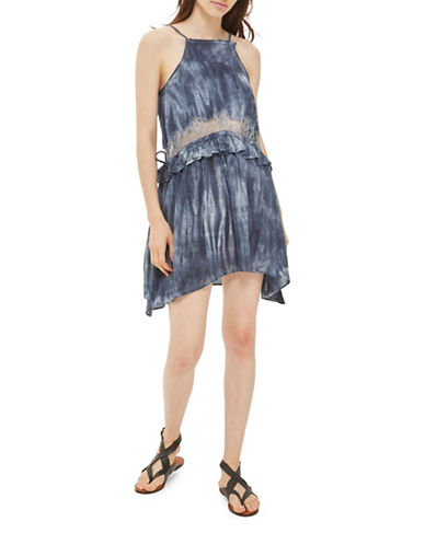 Topshop Tie-Dye Lace Mini Dress-BLUE-UK 8/US 4