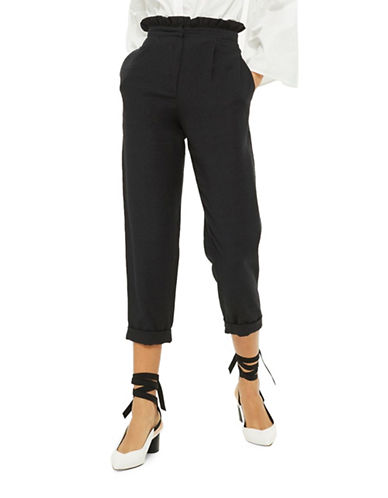 Topshop Ruffle Waist Mensy Trousers-BLACK-UK 12/US 8