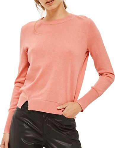 Topshop Merino Wool-Blend Pullover-PINK-UK 12/US 8