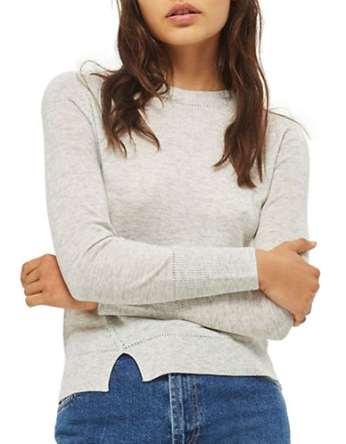 Topshop Pointelle Wool-Blend Knit Sweater-GREY MARL-UK 6/US 2