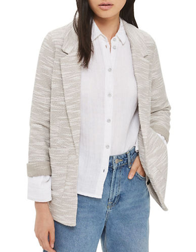 Topshop TALL Jersey Boucle Boyfriend Blazer-LIGHT GREY-UK 8/US 4