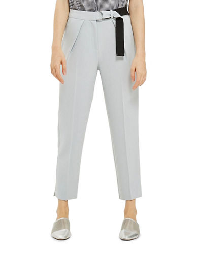 Topshop Belted Peg Trousers-LIGHT BLUE-UK 10/US 6