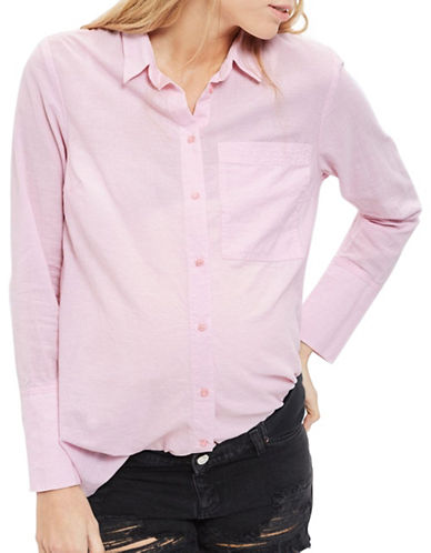 Topshop MATERNITY Zayn Chambray Shirt-LIGHT PINK-UK 8/US 4