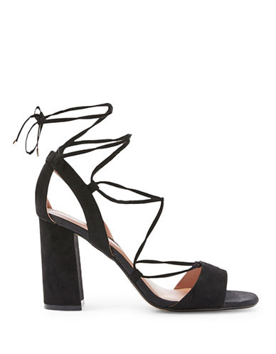 Topshop Marrakech Block Heel Sandals-BLACK-EU 41/US 10.5