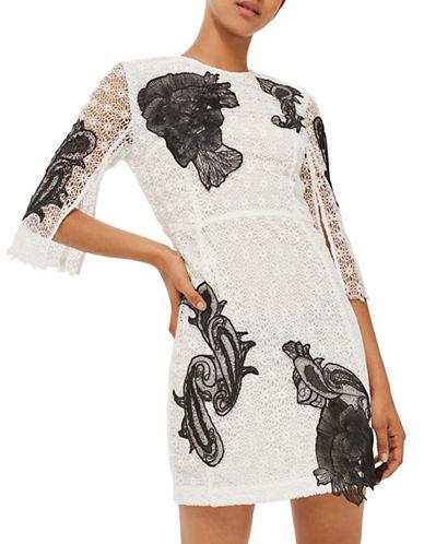 Topshop Applique Lace Sheath Dress-WHITE-UK 6/US 2