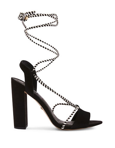 Topshop Reno Ankle Tie Block-Heeled Sandals-BLACK-EU 40/US 9.5