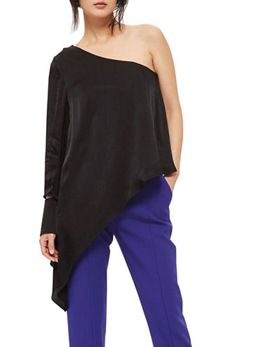Topshop Satin One-Shoulder Top-BLACK-UK 6/US 2
