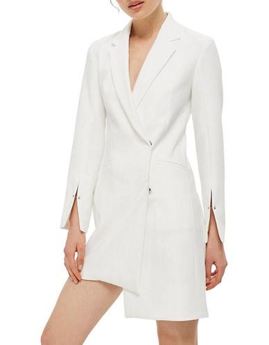 Topshop Asymmetric Blazer Dress-IVORY-UK 8/US 4