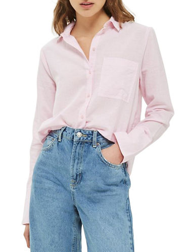 Topshop PETITE Zayn Chambray Shirt-PINK-UK 10/US 6