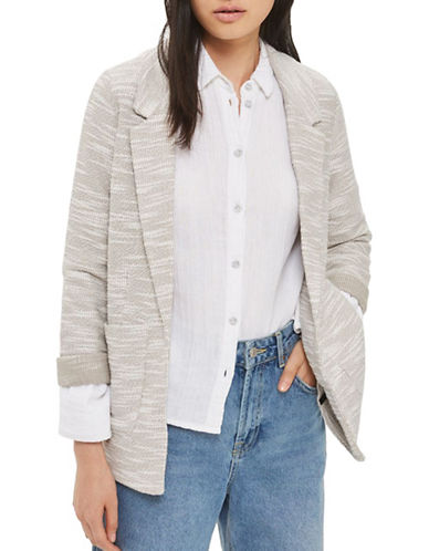 Topshop PETITE Jersey Boucle Boyfriend Blazer-LIGHT GREY-UK 8/US 4