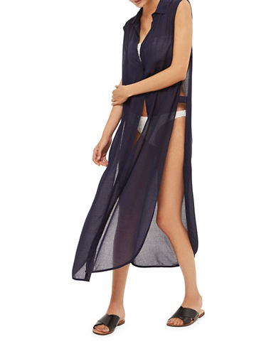 Topshop Sleeveless Maxi Beach Shirtdress-NAVY BLUE-Large