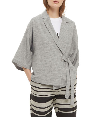 Topshop Marl Wrap Jacket-GREY-UK 10/US 6