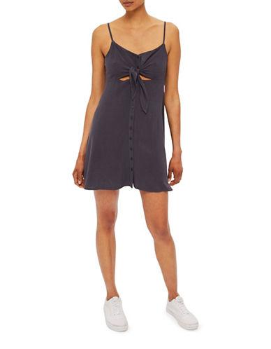 Topshop PETITE Molly Midi Dress-WASHED BLACK-UK 10/US 6