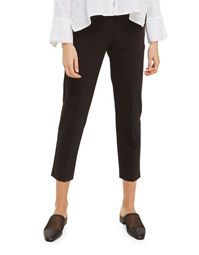 Topshop High Waisted Cigarette Trousers-BLACK-4 Short