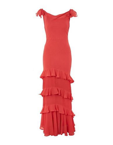 Topshop Ruffled Maxi Dress-RED-UK 10/US 6