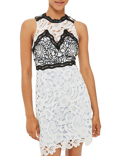 Topshop Floral Lace Dress-WHITE-UK 14/US 10