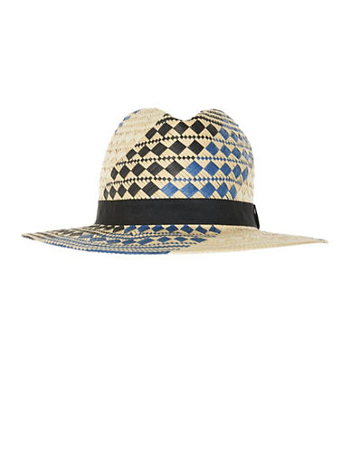 Topshop Patterned Straw Fedora Hat-BLUE-One Size