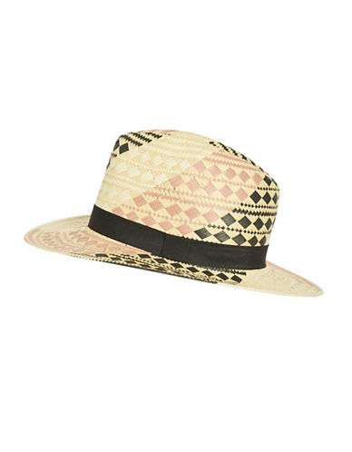 Topshop Patterned Straw Fedora Hat-NUDE-One Size