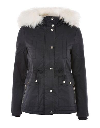Topshop PETITE Evie Parka Jacket-NAVY-UK 10/US 6