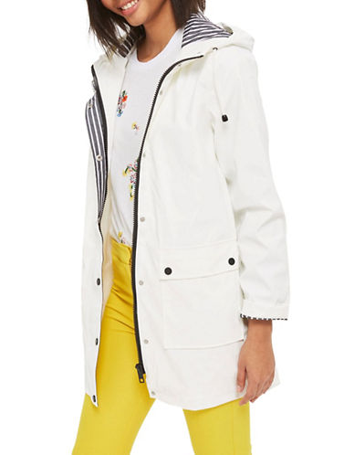Topshop PETITE Maisie Longline Mac Coat-WHITE-UK 6/US 2