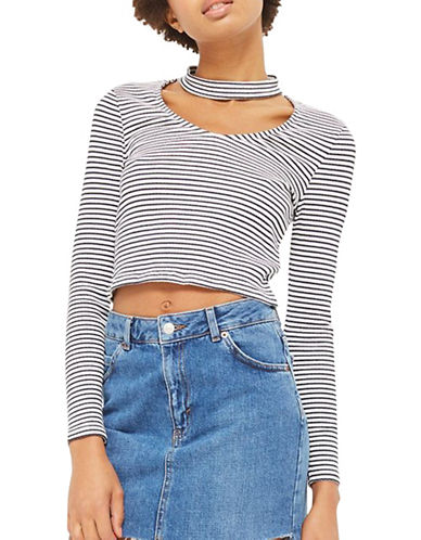 Topshop PETITE Stripe Choker Crop Top-NAVY BLUE-UK 12/US 8