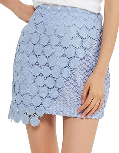 Topshop Wrap Lace Mini Skirt-BLUE-UK 10/US 6