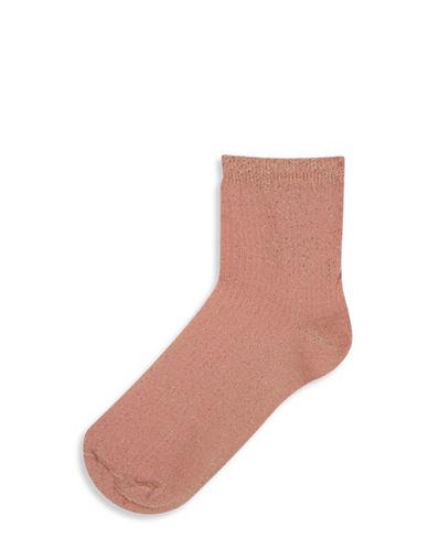 Topshop Crop Rib Glitter Socks-LIGHT PINK-One Size
