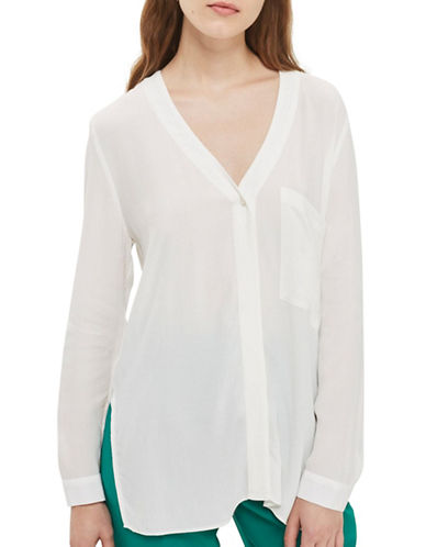 Topshop Long Sleeve Slouchy Shirt-IVORY-UK 14/US 10