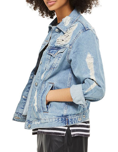 Topshop PETITE Extreme Ripped Denim Jacket-BLUE-UK 8/US 4