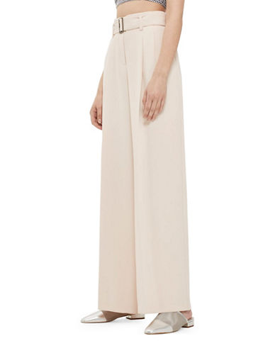Topshop Wide-Leg Trousers-NUDE-UK 8/US 4
