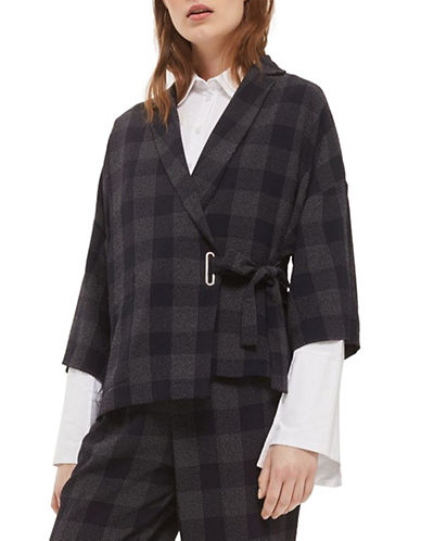 Topshop Check Wrap Jacket-NAVY BLUE-UK 12/US 8