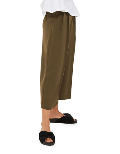 Topshop Sasha Cropped Wide Leg Trousers-KHAKI-UK 12/US 8