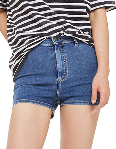 Topshop MOTO Joni Stretch Shorts-BLUE-UK 10/US 6