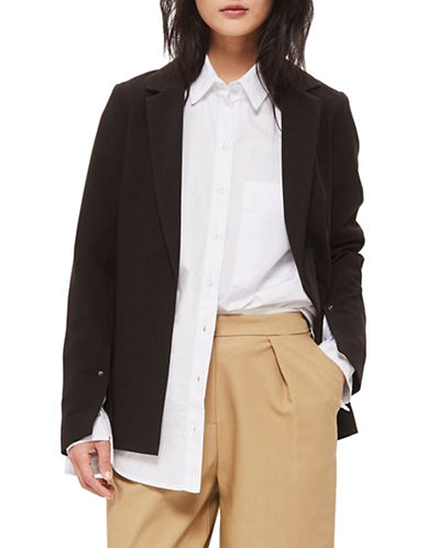Topshop Split-Sleeved Blazer-BLACK-UK 8/US 4