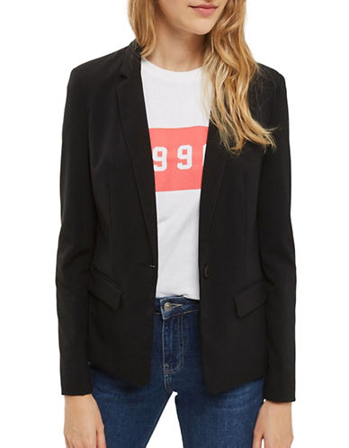 Topshop Naples Single-Breasted Blazer-BLACK-UK 10/US 6