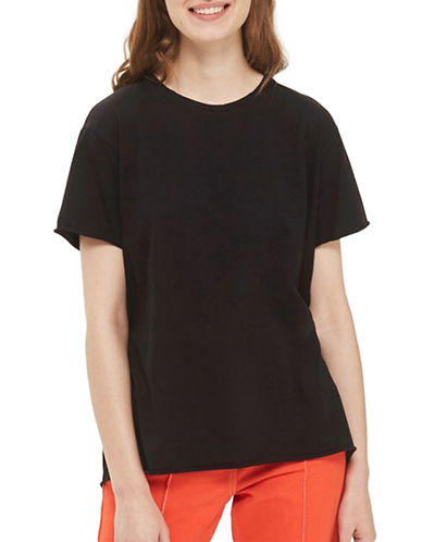 Topshop TALL Tulle Back Tee-BLACK-UK 10/US 6