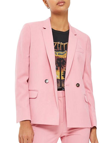 Topshop Tailored Double-Breasted Suit Jacket-PINK-UK 12/US 8