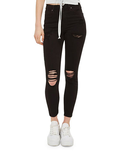 Topshop MOTO Super Rip Jamie Jeans 30-Inch Leg-BLACK-25X30