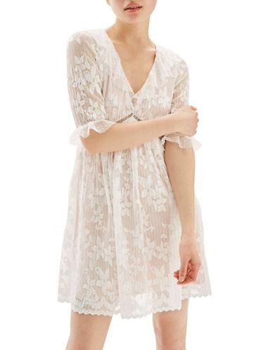 Topshop Pleat Lace Trim Flippy Dress-WHITE-UK 12/US 8