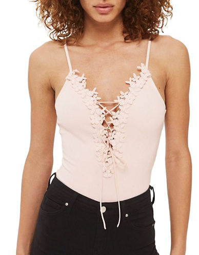 Topshop Floral Tie Up Applique Bodysuit-BLUSH-UK 8/US 4