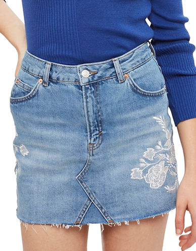 Topshop MOTO Tonal Embroidery Denim Skirt-BLUE-UK 10/US 6