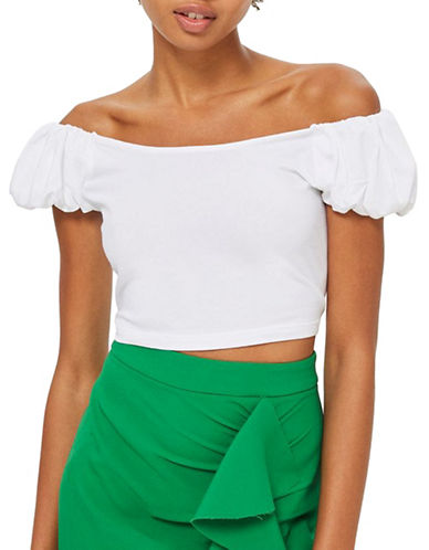 Topshop Bubble Sleeve Crop Top-WHITE-UK 16/US 12