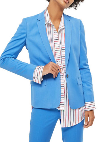 Topshop Fitted Sports Jacket-BLUE-UK 12/US 8