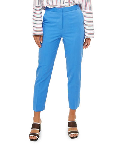 Topshop Fitted Suit Trousers-BLUE-UK 12/US 8