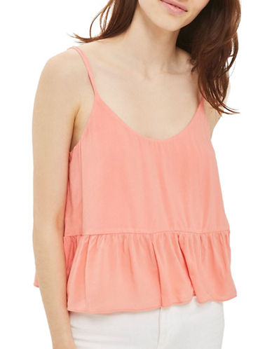 Topshop PETITE Relaxed Peplum Cami-CORAL-UK 12/US 8