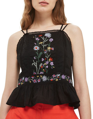 Topshop Embroidered Sun Top-BLACK-UK 14/US 10