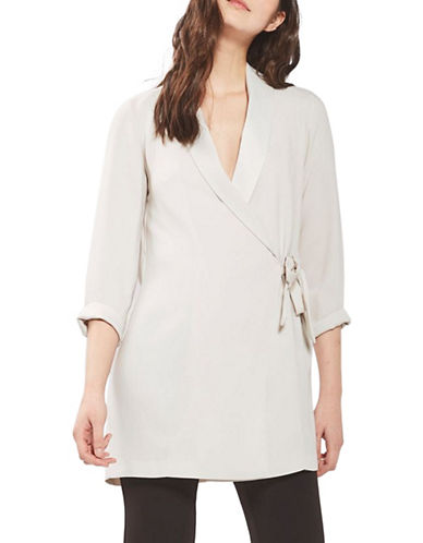 Topshop Side-Tie Blazer Dress-STONE-UK 10/US 6