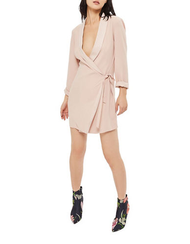 Topshop Side-Tie Blazer Dress-BLUSH-UK 8/US 4
