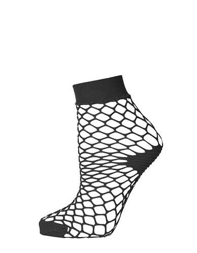 Topshop Medium Fishnet Ankle Socks-BLACK-1