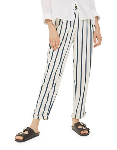 Topshop Stripe Mensy Trousers-BLUE-UK 6/US 2